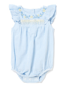 Blue Floral Hand Embroidered Bodysuit (0-24 months)