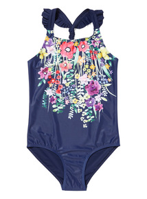 Navy 3D Floral Meadow Print Swimming Costume (4-14 years)