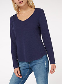 Long Sleeve Plain V-Neck Top