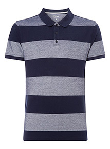 Blue Block Stripe Polo Shirt