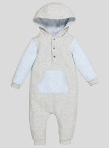 Grey And Blue Hooded All In One (0-24 months)