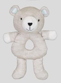 Grey Teddy Bear Rattle Toy