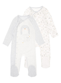 Grey Two Pack Penguin Sleepsuit (0-24 months)