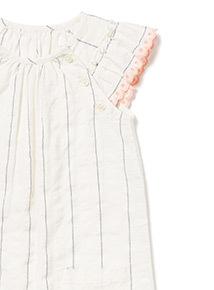 White Stripe Woven Romper (0-24 months)