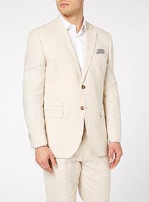 Stone Linen Rich Herringbone Jacket