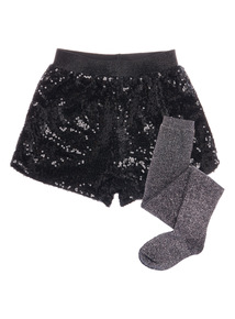 Black Sequin Party Shorts & Tights (3 - 12 years)