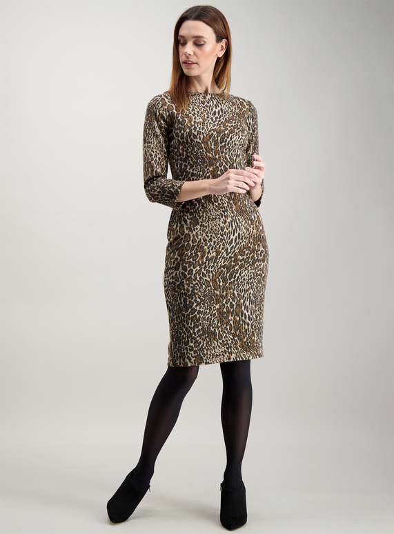 b3f94bed80 Womens Brown Brushed Animal Print Shift Dress