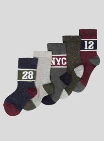 Multicoloured Logo Socks 5 Pack (infant 3-adult 6.5)