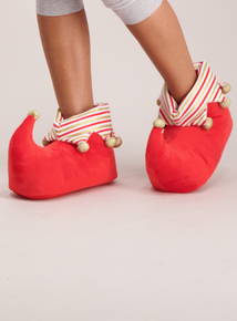 Christmas Red & Gold Elf Novelty Slippers