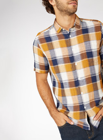 Ochre Regular Fit Checked Linen Shirt