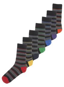 Stay Fresh Multicoloured Striped Socks 7 Pack