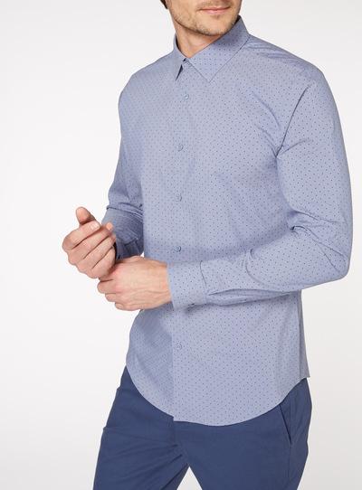 Blue Polka Dot Stretch Shirt