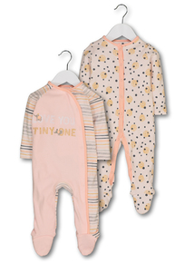 Pink Elephant Print Sleepsuits 2 Pack