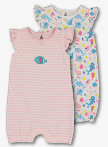 31fbeee4814 Multicoloured Sea Creature Rompers 2 Pack (0 - 24 Months)