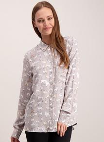 Grey Dog Print Shirt