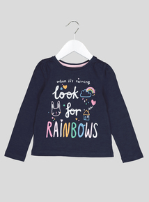 Navy Rainbow Doodle Long Sleeve T-Shirt (9 Months- 6 Years)