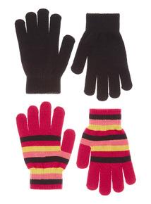 2 Pack Plain and Stripe Gloves