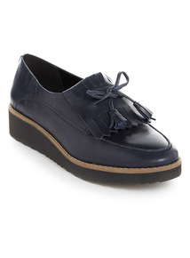 Premium Navy Leather Wedge Loafers