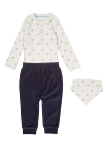 Blue 3 Piece Body, Velour Jogger and Bib Set (0-24 months)