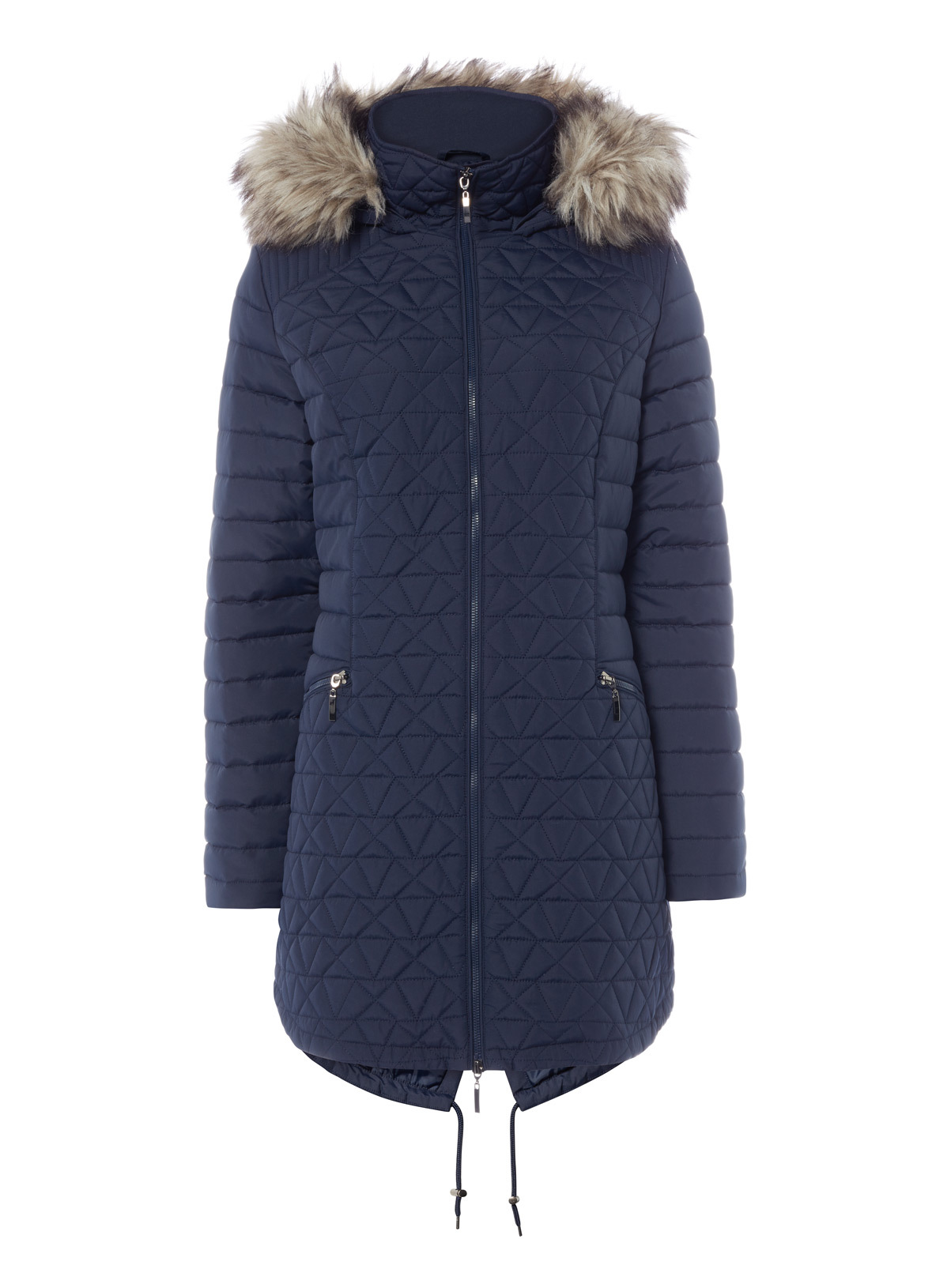 Womens Navy Long Quilted Parka | Tu clothing