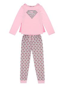 Kids Pink Supergirl Pyjamas With Cape