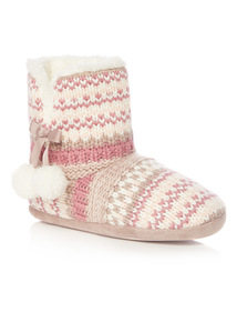 Multicoloured Patchwork Knit Boot