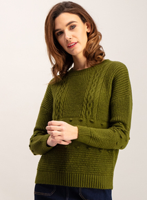 Olive Green Cable Stitch Jumper