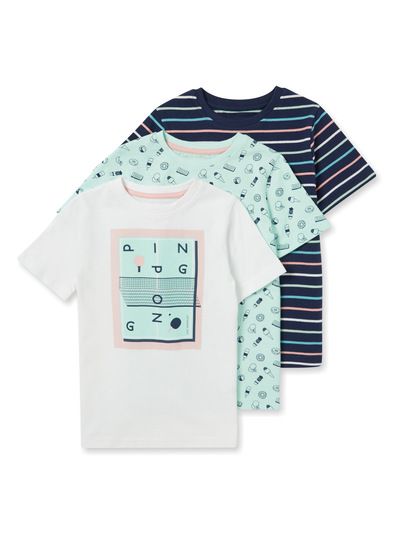 3 Pack Multicoloured Print T-shirts (3-14 years)