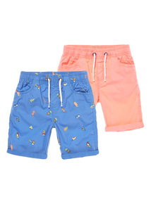 Multicoloured Printed Shorts 2 Pack (3 - 12 years)