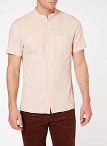 Pink Textured Grandad Shirt