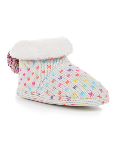 Multicoloured Neon Knitted Slipper Boots (3 - 14 years)