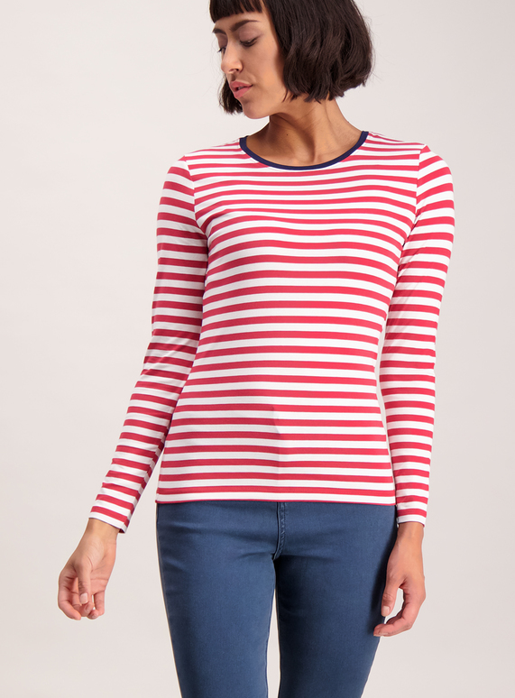 dc52713350e Womens Pink and White Striped Long Sleeve T-Shirt | Tu clothing