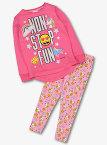 Emoji Pink 'Non Stop Fun' Unicorn Pyjamas (5-14 years)