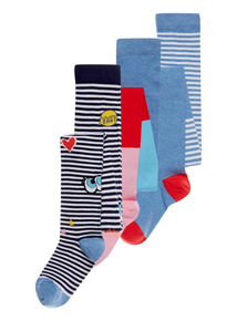 Multicoloured Wonder Girl Cotton Rich Tights 3 Pack