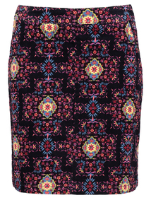 Multicoloured Floral Printed Mini Skirt