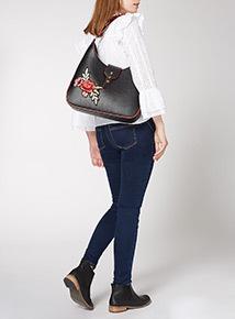 Retro Rose Embroidered Hobo Bag