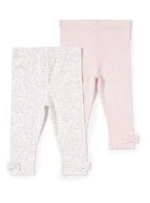 2 Pack Pink Printed Leggings (Newborn -12 months)
