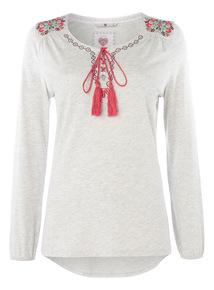 Grey Embroidered Tibet Pyjama Tee