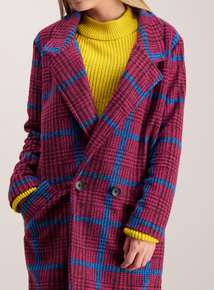 Multicoloured Colour Clash Check Coat