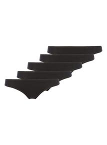Black Plain Mini Briefs 5 Pack