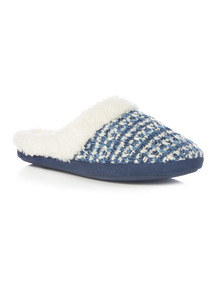 Navy Knitted Texture Mule