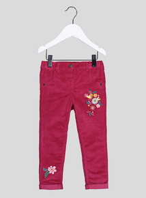 Pink Corduroy Floral Embroidery Trousers (9 months-6 years)