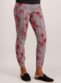 Online Exclusive Multicoloured Check and Rose Print Leggings