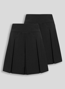 Black Permanent Pleat Skirt 2 Pack (3-16 years)