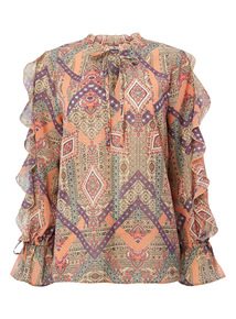 Multicoloured Frilled Printed Top