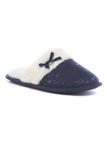 Navy Star Print Mule Slippers