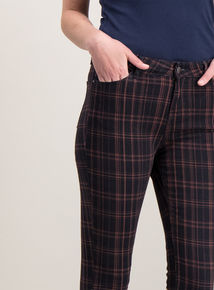 3a18226b25 Navy Check Skinny Fit Jeans with Stretch