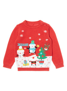 Red Christmas Scene Jumper (0-24 months)