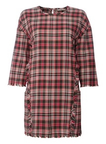 Checked Frayed Hem Tunic