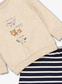Oatmeal Animals Sweatshirt & Joggers Set(0-24 months)